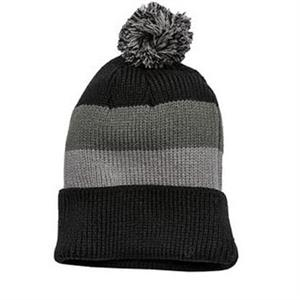 District - Vintage Striped Beanie with Removable Pom.