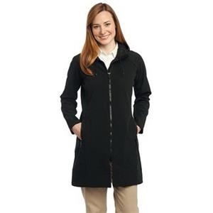 Port Authority Ladies Long Textured Hooded Soft Shell Jac...