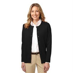 Port Authority Ladies Value Jewel-Neck Cardigan Sweater.