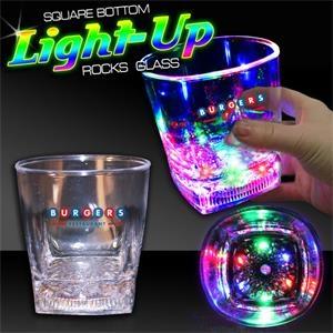 Square Bottom LED Rocks Glass