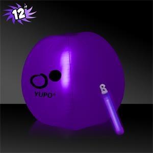 "12\""  Translucent Inflatable Beach Ball w/ Purple Glow Stick"