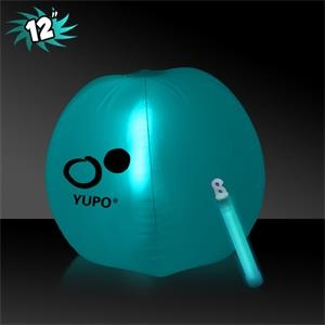 "12""  Translucent Inflatable Beach Ball with Aqua Glow Stick"
