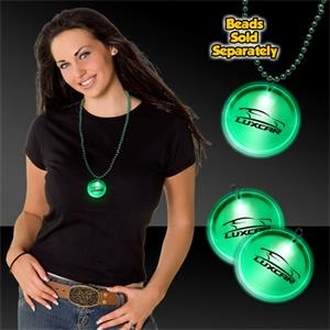 "Green 2"" Lighted LED Badges with attached J-Hook medallion"