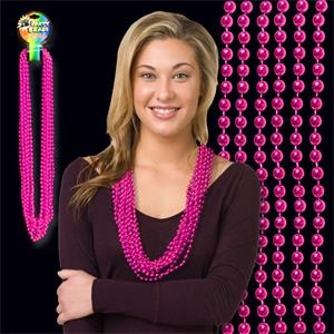 Hot Pink Metallic Beaded Necklace