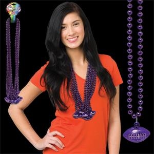 Purple Beaded Necklace with Football Pendant