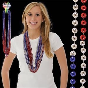 "36"" Red-Silver-Blue  (7mm) Bead Necklace"