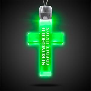 """Cross Pendant w/ Green LED Lights on 24\"""" Necklace"""