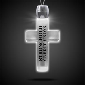 "Cross Pendant w/ White LED Lights on 24\"" Necklace"