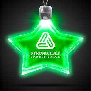 """Star Pendant w/ Green LED Lights on 24\"""" Necklace"""
