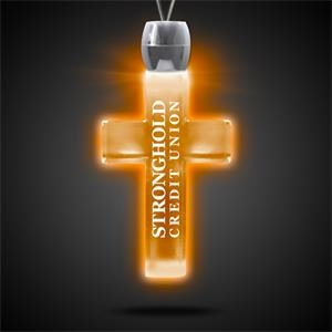 """Cross Pendant w/ Amber LED Lights on 24\"""" Necklace"""
