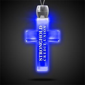 "Cross Pendant w/ Blue LED Lights on 24\"" Necklace"