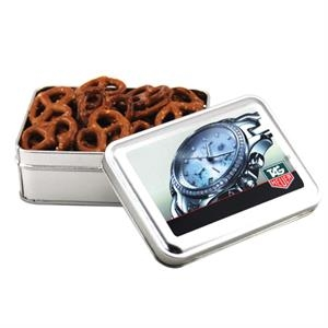Mini Pretzels in a metal gift box with lid
