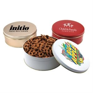 "Mini Pretzels in a Round Tin with Lid-7.25"" D"