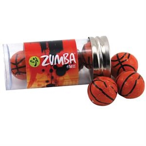 "Chocolate Basketballs in a 3 "" Plastic Tube with Metal Cap"