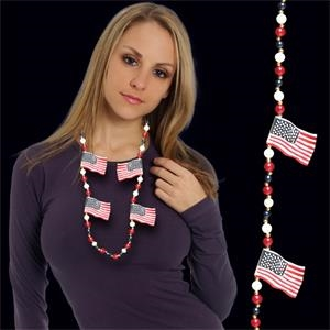 USA Flag Beaded Necklace