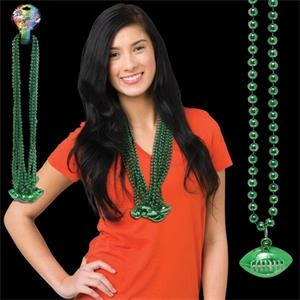 Green Beaded Necklace with Football Pendant