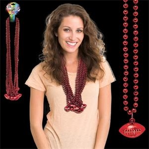 Red Beaded Necklace with Football Pendant