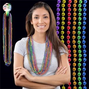 "33\"" Rainbow (7mm) Segmented Mardi Gras Bead Necklace"