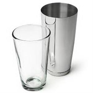 Two-piece cocktail shaker and mixing glass set