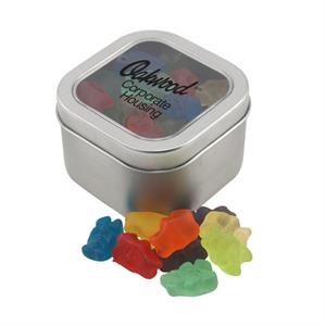 Large Tin with Window Lid and Gummy Bears