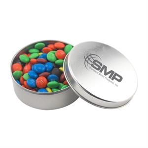 Large Round Metal Tin with Lid and chocolates
