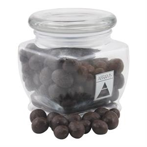 Chocolate Espresso Beans in a Large Glass Jar with Lid