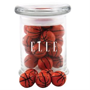 Chocolate Basketballs in a Round Glass Jar with Lid
