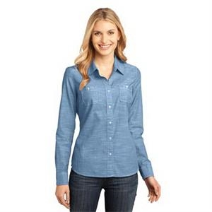 District Made - Ladies Long Sleeve Washed Woven Shirt.