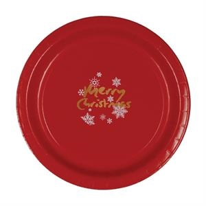 "9""  Coated Paper Plate - Red"