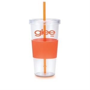 24 oz. Single wall acrylic BurpyTumbler with rubber grip