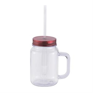 24 oz plastic Classic Mason w/screw on lid & matching straw