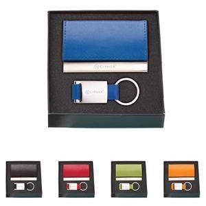 Leather Card Holder & Key Ring Gift Set