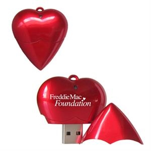 Heart Shape USB Flash Drive w/Removable Cap
