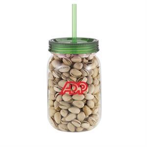 24 oz Plastic Classic Mason Jar w/straw & Pistachio Nuts