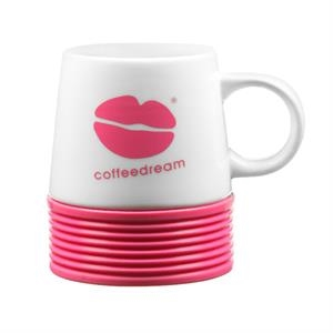 16 oz. double wall ceramic Talladega mug w/silicone base
