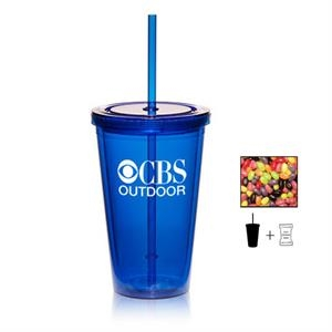 Plastic Tumbler Cup Drinkware with Jelly Beans Candy - 16 oz