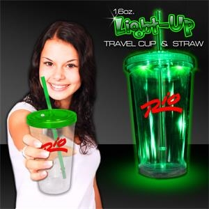 Green Light Up Travel Cup with Lid and Straw