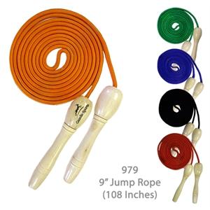 """Wooden Handle Jump Rope - Orange - 9 Feet Long (108\"""") - E979"""