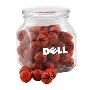 Chocolate Basketballs in a Large Glass Jar with Lid