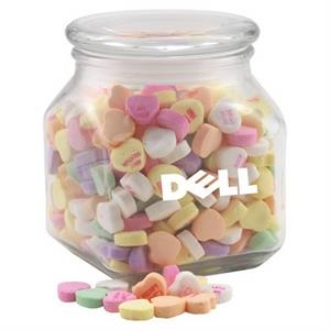 Conversation Hearts Candy in a Large Glass Jar with Lid