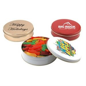 "Swedish Fish in a Round Tin with Lid-6"" D"