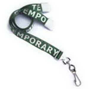 "5/8"" Pre-Printed \""Temporary\"" Lanyard with Swivel Hook"