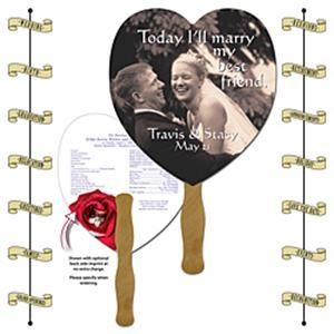 Announcement Hand Fan - 8.5x8 Heart Shaped Laminated - 14 pt