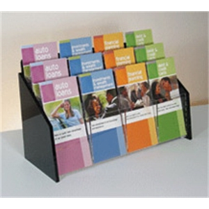 12-Pocket Deluxe Black and Clear Literature Holder