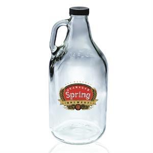 64 oz. Clear Flint Handle Glass Beer Growler 38/400