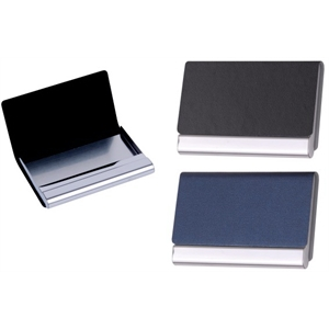 Leatherette And Stainless Steel Business Card Case