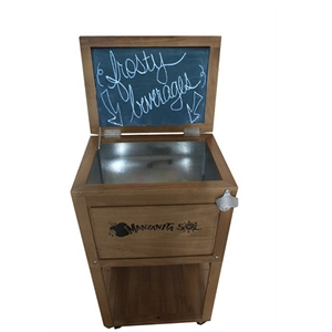 Beautiful wood rolling cooler with galvanized tub