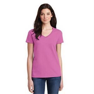 Gildan Ladies Heavy Cotton 100% Cotton V-Neck T-Shirt.