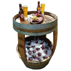 Wood barrel table with cooler tub