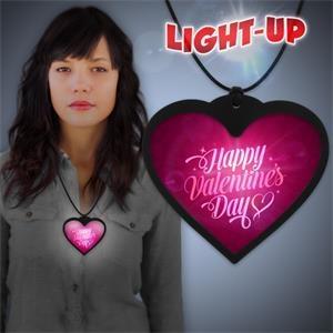Heart Backlit LED Badge Necklace